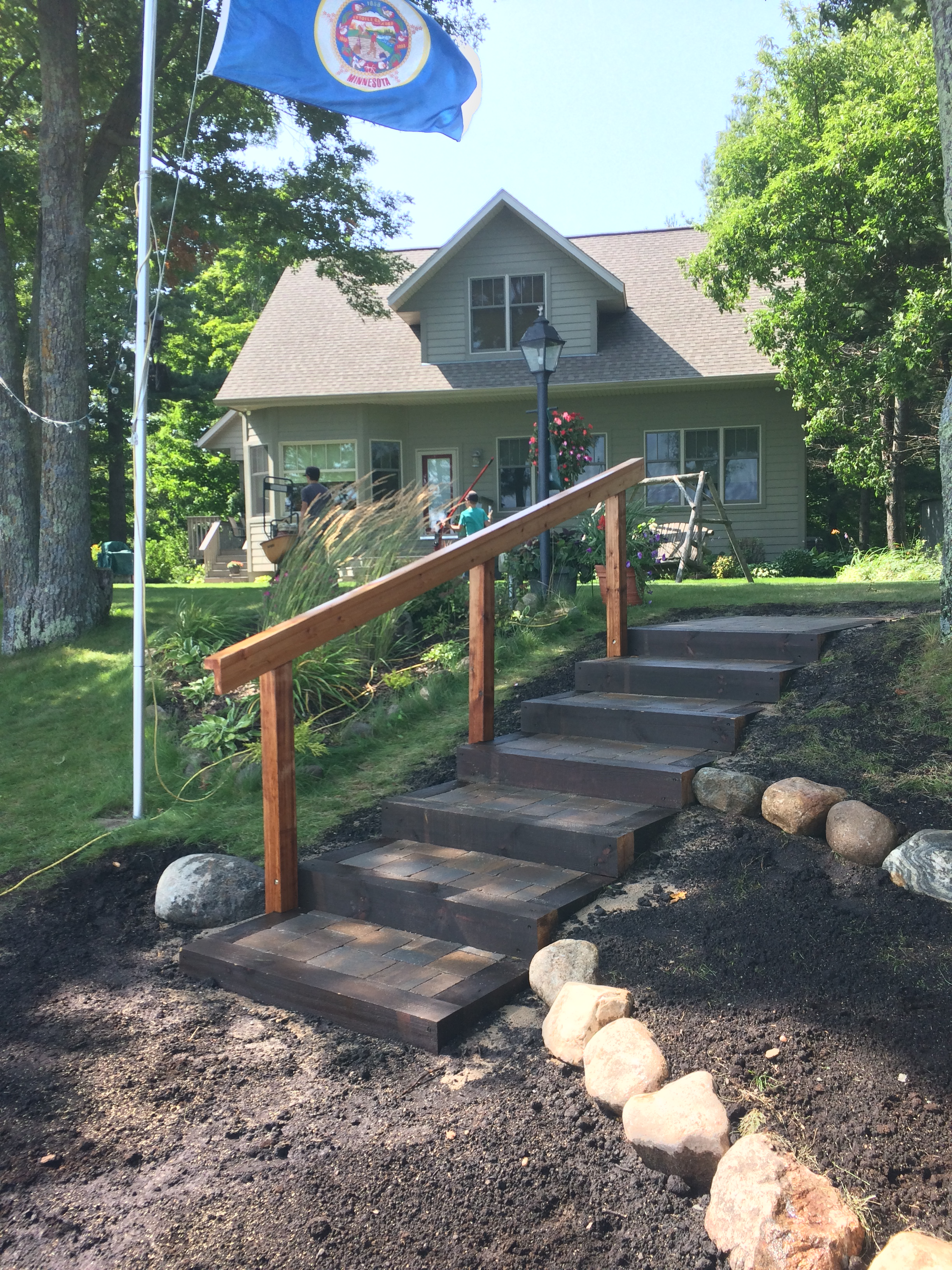 shoreline and paver stairs on a home