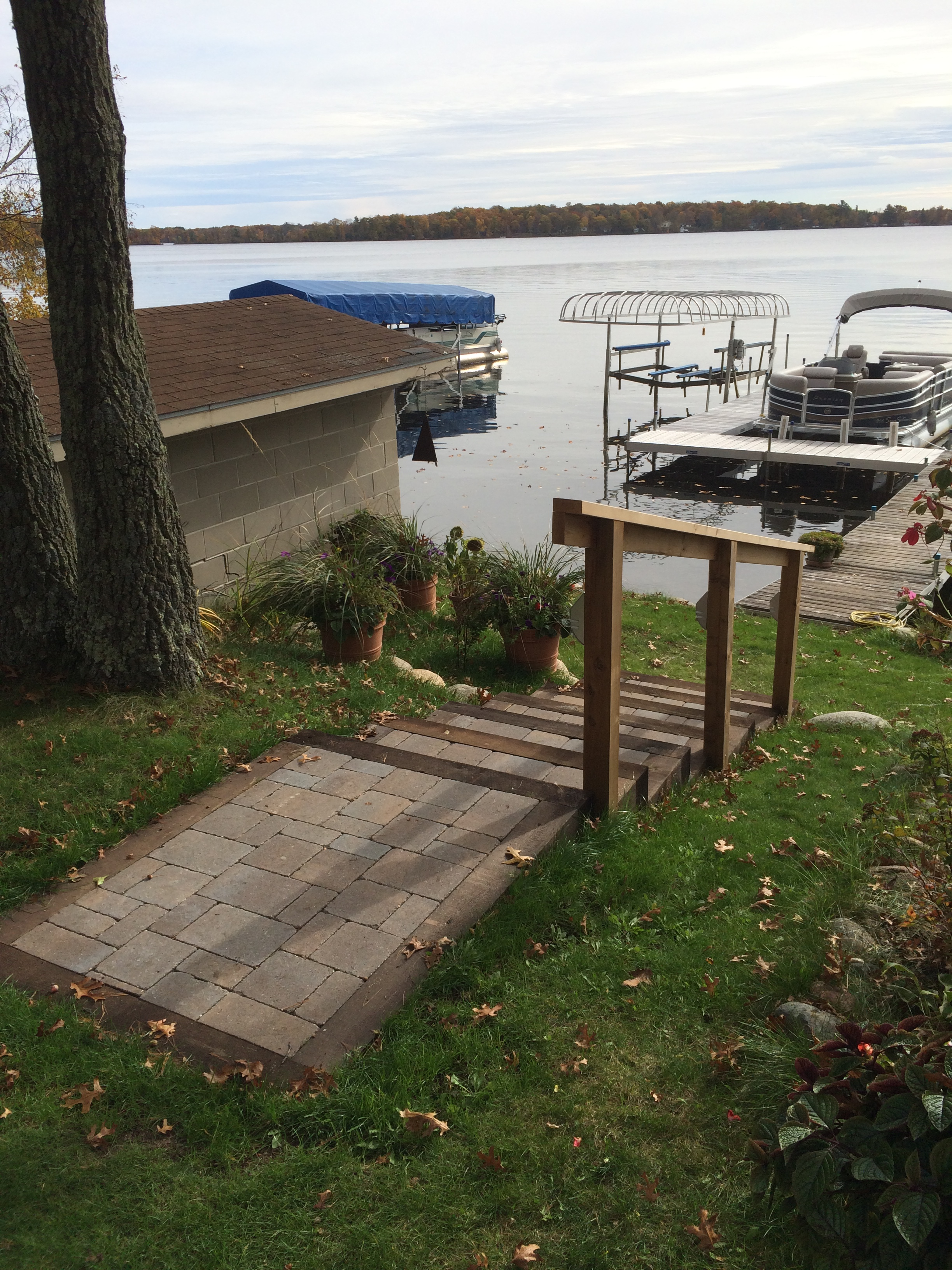 paver stairs to a lakeshore