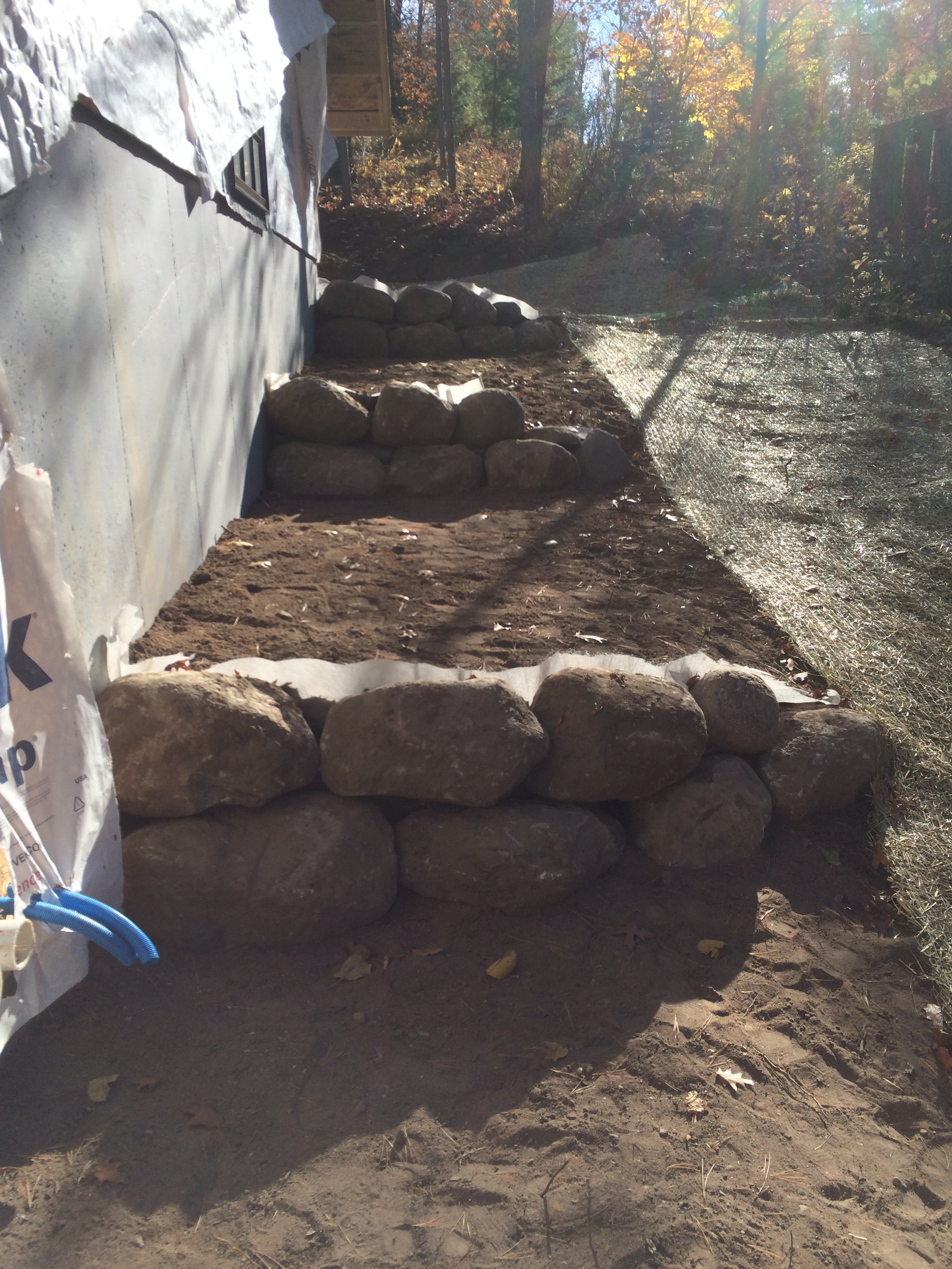 terraced boulder retaining walls