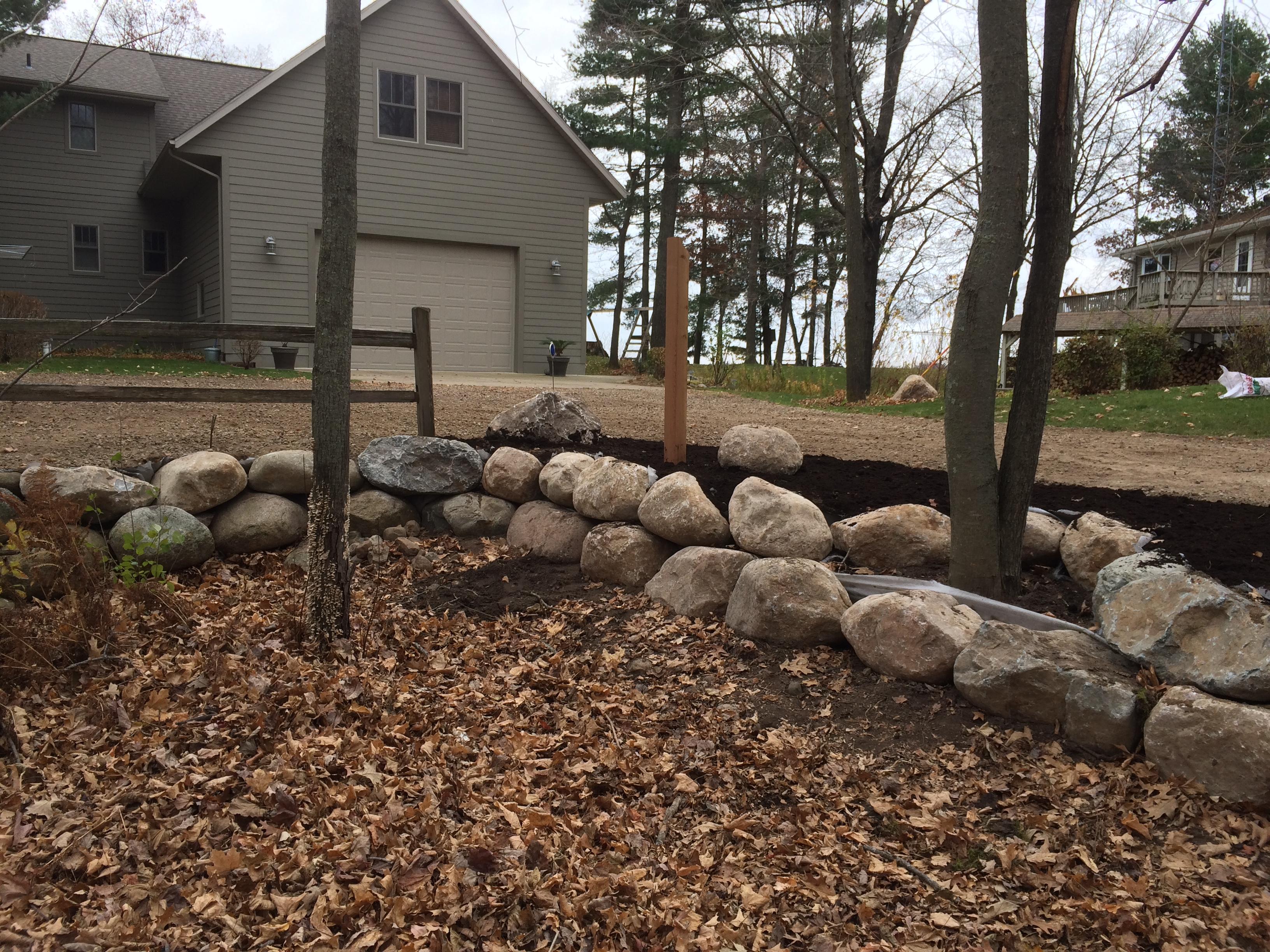 boulder wall landscape