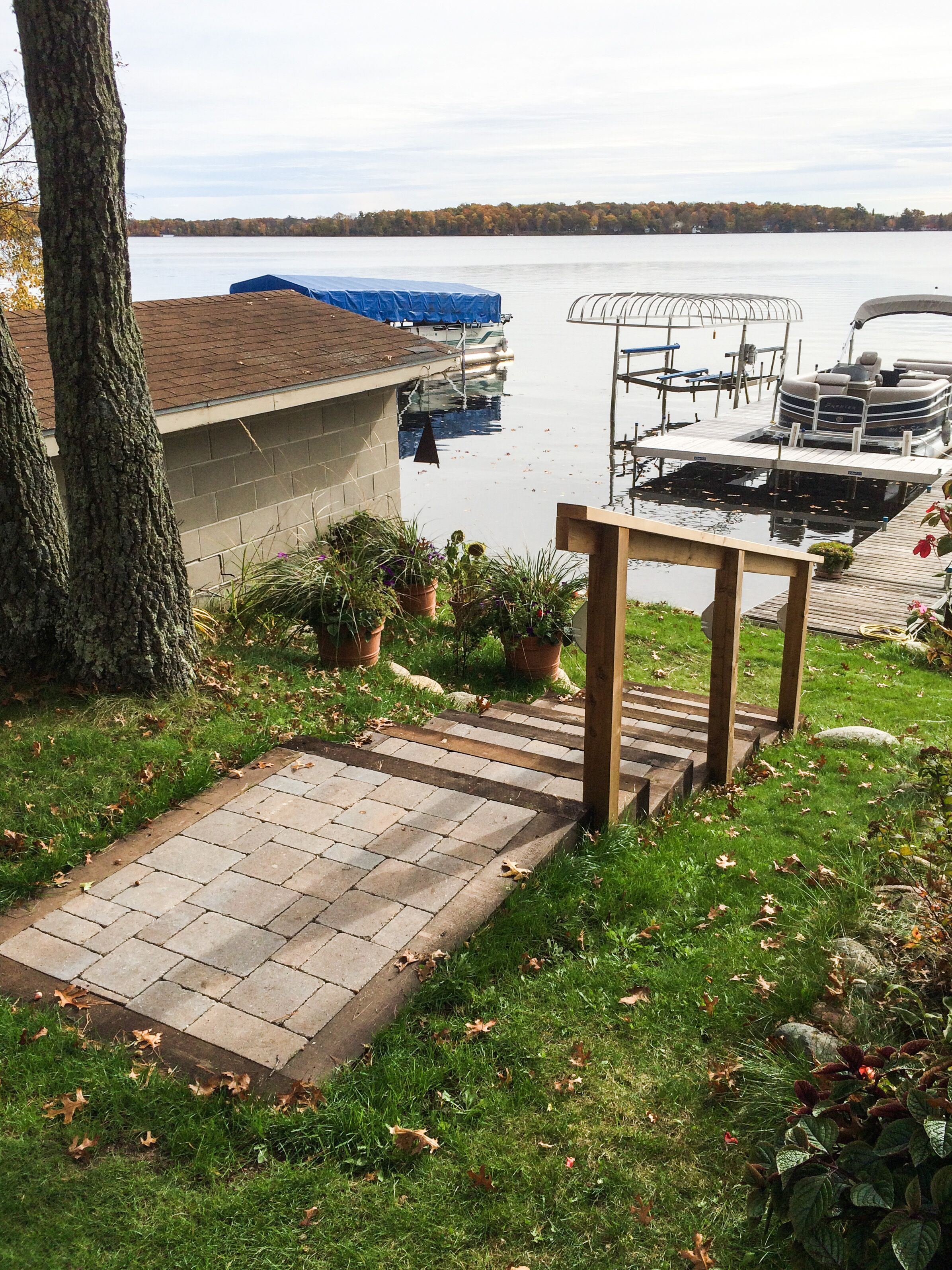 Paver stairs going down to lake