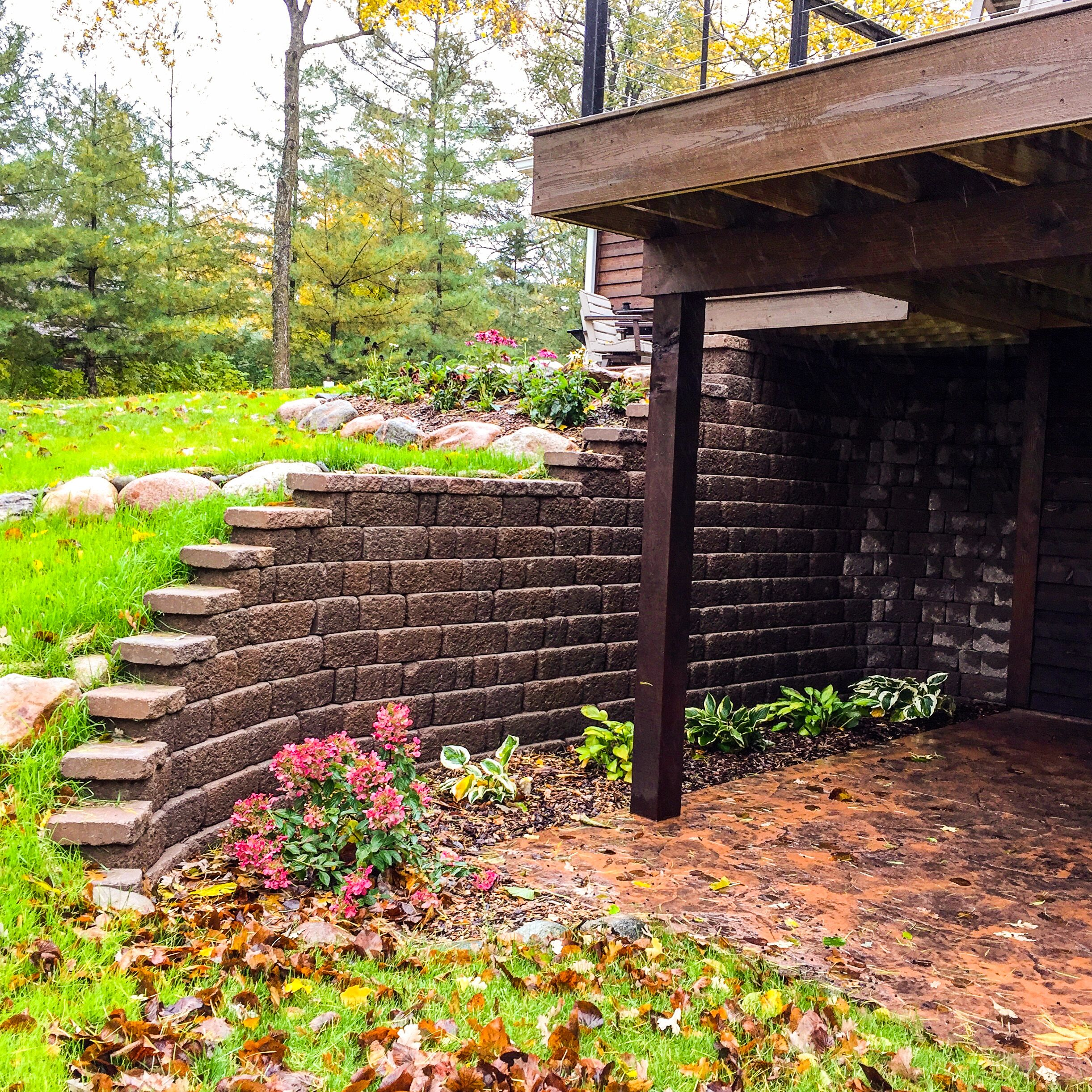 retaining wall on home in Merrifield, MN