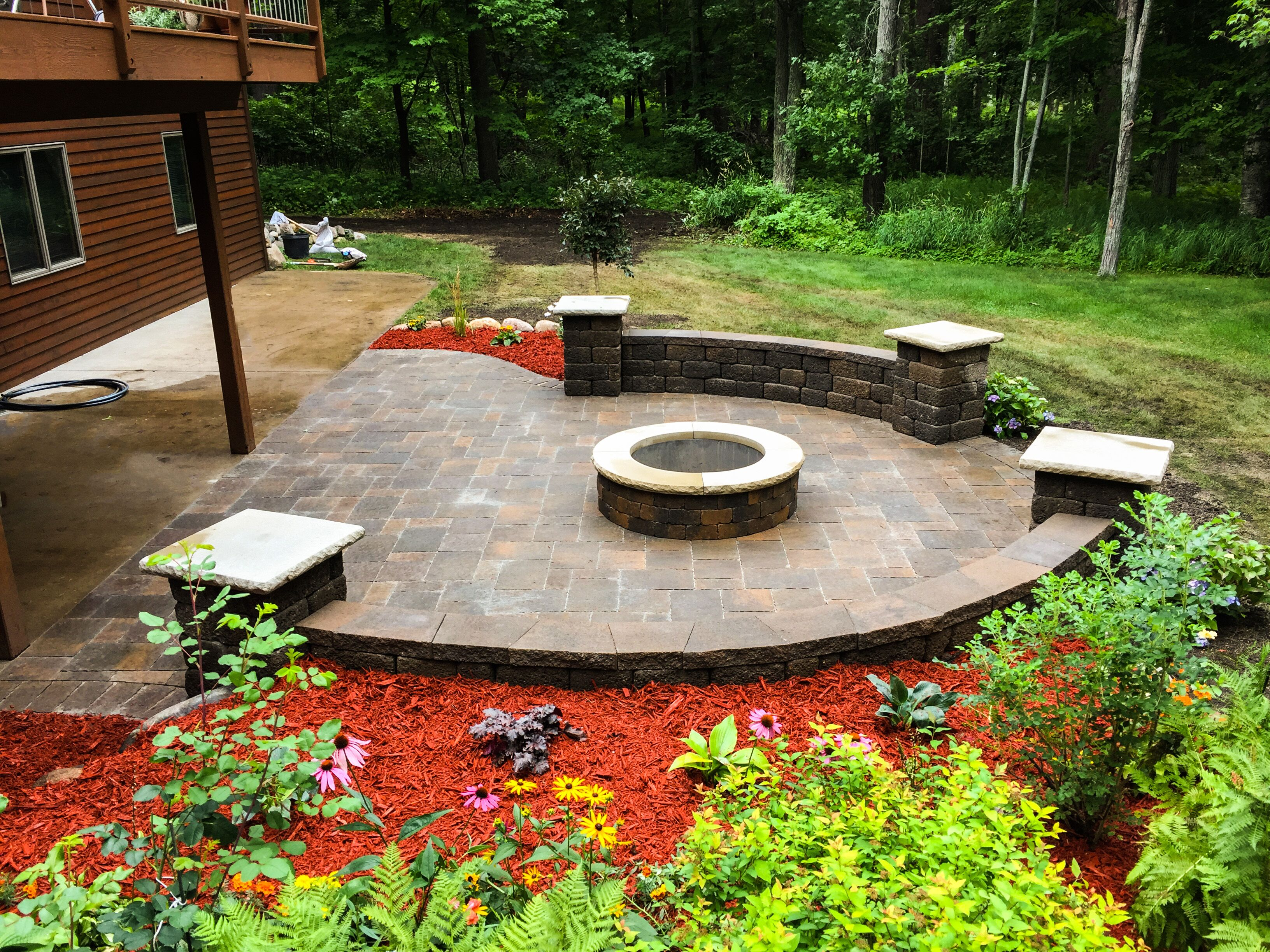 paver patio construction with fire pit